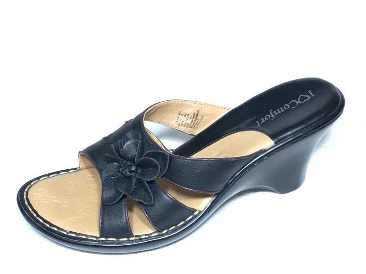 "I love Comfort Ladies Slip On Black Dress Casual Sandal Shoes 2.5"" Heel Size 8M  #ILoveComfort #Comfort"