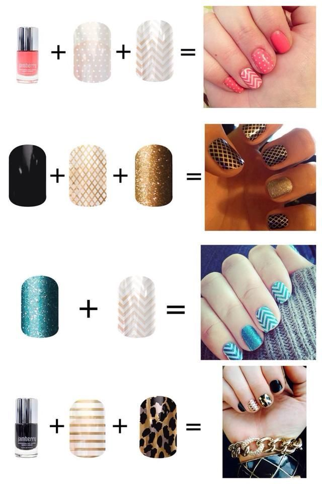 Fun Jamberry nail wrap combos! Click the image to see what you can create with over 300+ designs. Find me on Facebook for a FREE sample: https://www.facebook.com/jamberrynailswithsarahwiley