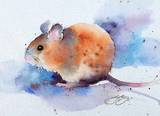 Mouse by Yvonne Joyner Watercolor ~  x
