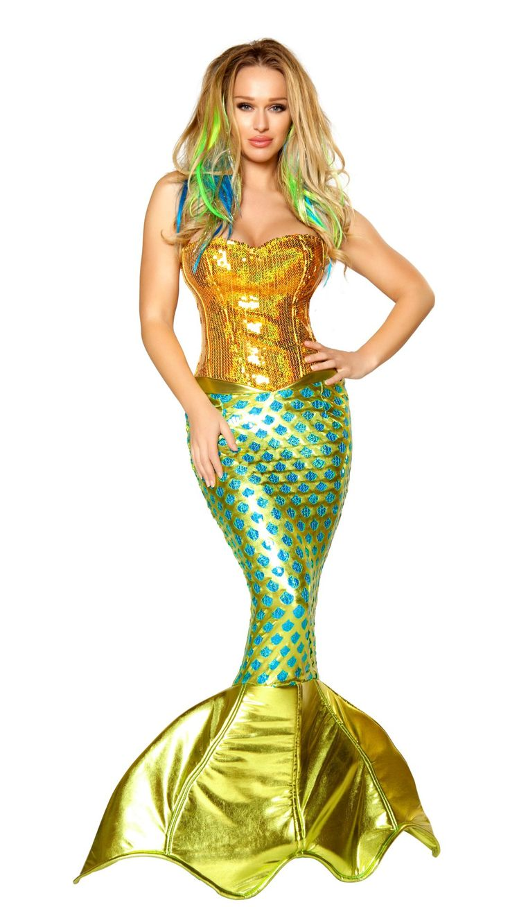 Click on picture TWICE to see price & to order. Sexy Mermaid Halloween Costume, Gold-Turquoise, 2pcs #thesexiestlingerie, #costume, #halloween