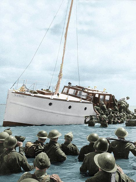 Dunkirk Evacuation: Soldiers scramble aboard a little ship during the Dunkirk evacuation
