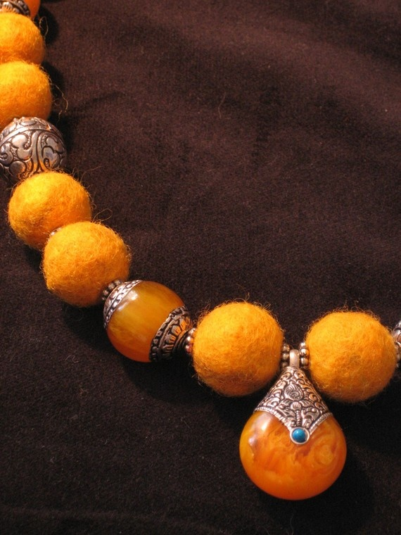 Felted wool beads with Indonesian-style spacers