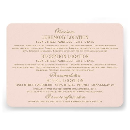 Elegant vintage inspired wedding information enclosure card design. Blush pink and antique gold colors. Personalize the custom text with directions to your ceremony and reception venues, your hotel accommodations, wedding website, or other info for your guests.
