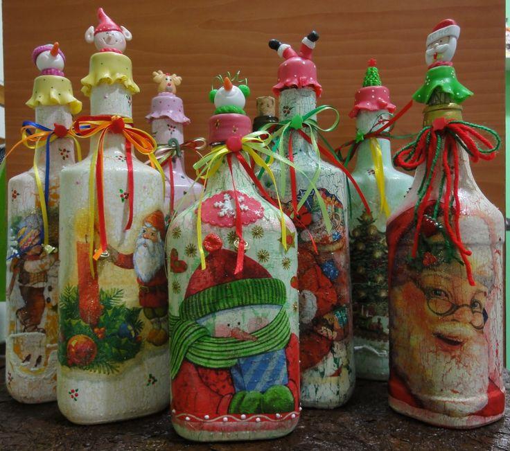 botellas navideñas decoradas - Buscar con Google
