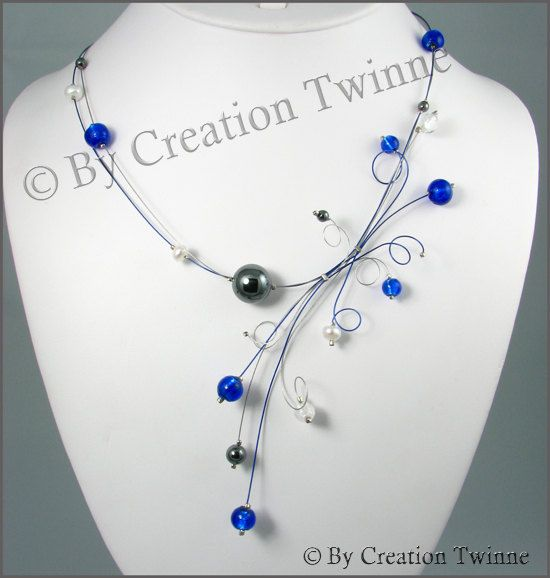 royal blue, hematite, clear glass necklace, swirls, bridesmaids necklace, delicate necklace, nature jewelry, weddings necklace on Etsy, $45.00