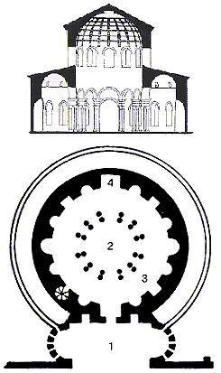 Pianta e alzato del mausoleo di S. Costanza, 1 nartece, 2 posizione della cupola, 3 deambulatorio, 4 nicchia rettangolare in cui era posto il sarcofago in porfido di Costantina.