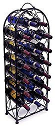 Sorbus Wine Rack Stand Bordeaux Chateau Style – Holds 23 Bottles of Your Favorite Wine – Elegant Looking French Style Wine Rack to Compliment Any Space – No Assembly Required (Black)