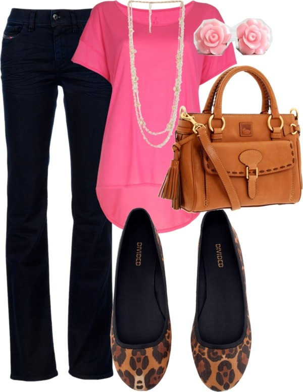 """leopard flats w/neon pink"" by m-l-m-fashion on Polyvore"