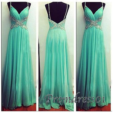 Elegant backless green chiffon prom dress with straps, ball gown, prom dresses long #coniefox #2016prom