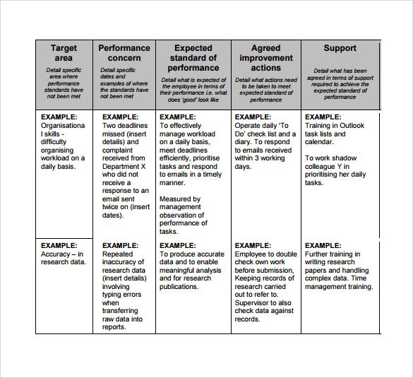 Sample Performance Plans How To Plan Words Templates