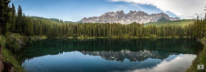 #Panoramica del #lago di #Carezza e del gruppo del #Latemar sulle #Dolomiti