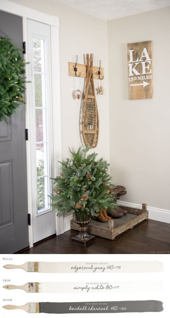 New England Farmhouse Neutral Paint Color Scheme | Foyer Painted Benjamin Moore Edgecomb Gray