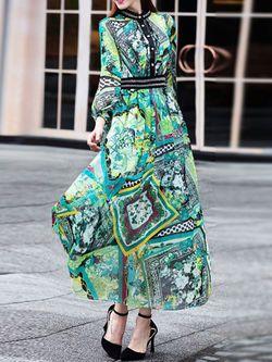 Printed Chiffon Beaded Maxi Dress