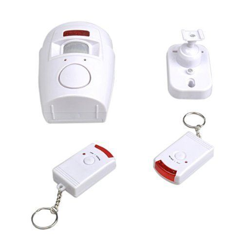 TRIXES Shed Alarm Battery Powered Motion Sensing Alarm and Remotes Security for Garden Sheds and Caravans