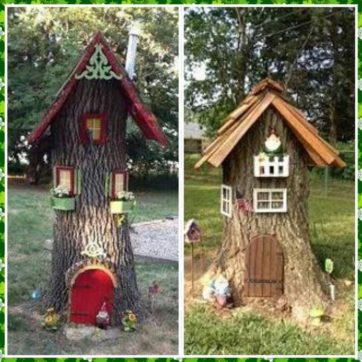 Gnome Tree Stump Home: Gnome Houses Made From Tree Stumps.