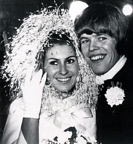 Peter Noone of Herman's Hermits with his new bride Mireille Strasser Noone 1968