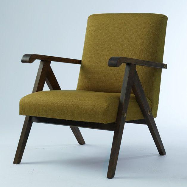 Sessel MONKLET 60er Style (olivegrün)