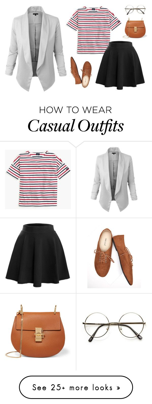 """""""Open Blazer Casual Look"""" by le3noclothing on Polyvore featuring Saint James, LE3NO, Wet Seal and Chloé"""