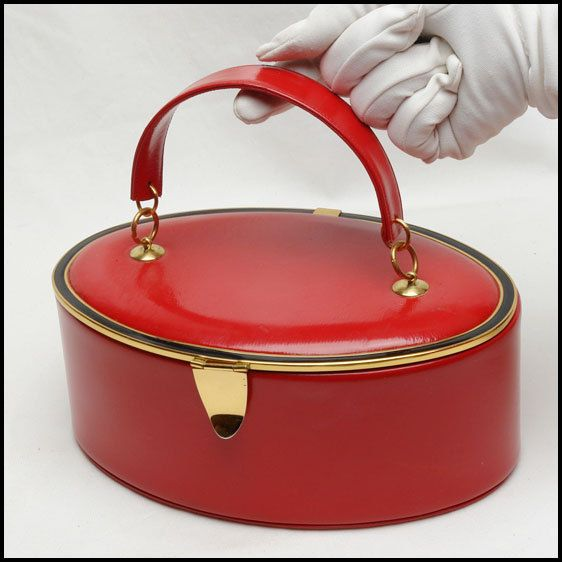 Seductive Red Leather Bienen Davis Vintage Box Handbag 1950's. Superb Design. on Etsy, $273.16 CAD
