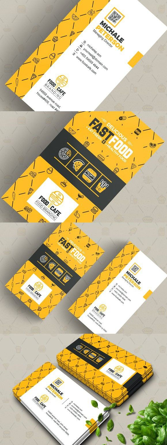 Business Card For Fast Food Company Food Business Card Company Meals Illustration Business Cards