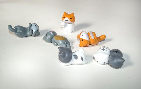 6 PC Orange White Gray Lazy Cat Kitty Kittens Hanging Miniature Garden Plants Terrarium Doll House Ornament Fairy Decoration az8017