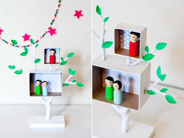 DIY Mini-Tree House and Shadowbox Peg Doll Set via ambrosia creative