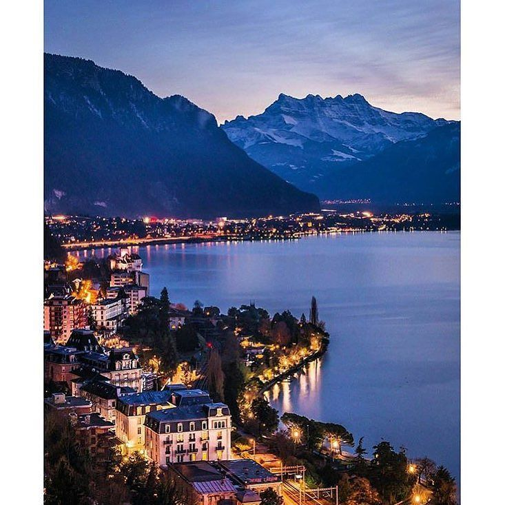 Veytaux near Montreux Switzerland  Amazing view on Lake Geneva and the multi-summited mountain called Les Dents-du-Midi in Swiss Chablais Alps. Can you also spot the castle of Chillon by the lake on the middle/left side of the photo?  Via: @christofs70   Huge thanks to the following hubs for featuring my work recently : @bw_beautifulworld @insider_bestofinsta @megalivings @cities__world @theswitzerlandguide @citybestviews  #switzerland_vacations #christofs70inSwitzerland #Switzerland…