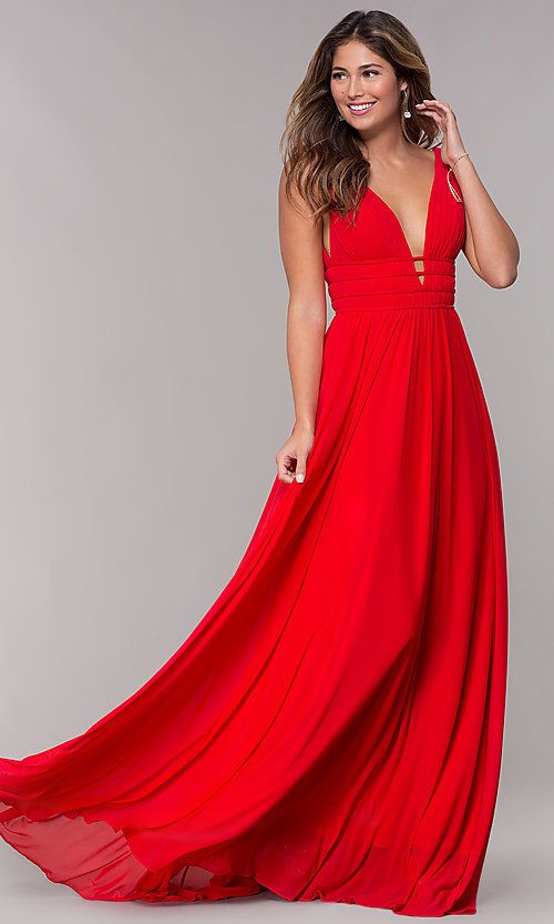 db6f750c792d Image of JVN by Jovani sleeveless ruched v-neck prom dress. Style:  JO-JVN-JVN52179 Front Image