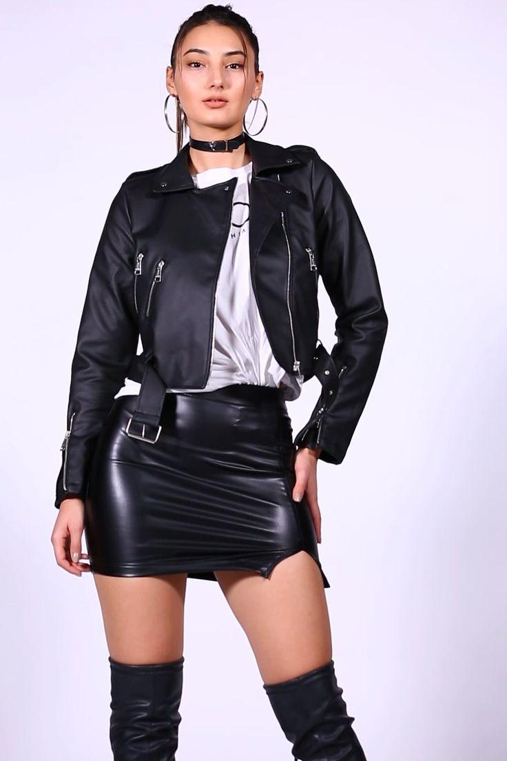 Pin on Black Leather Jacket Girls