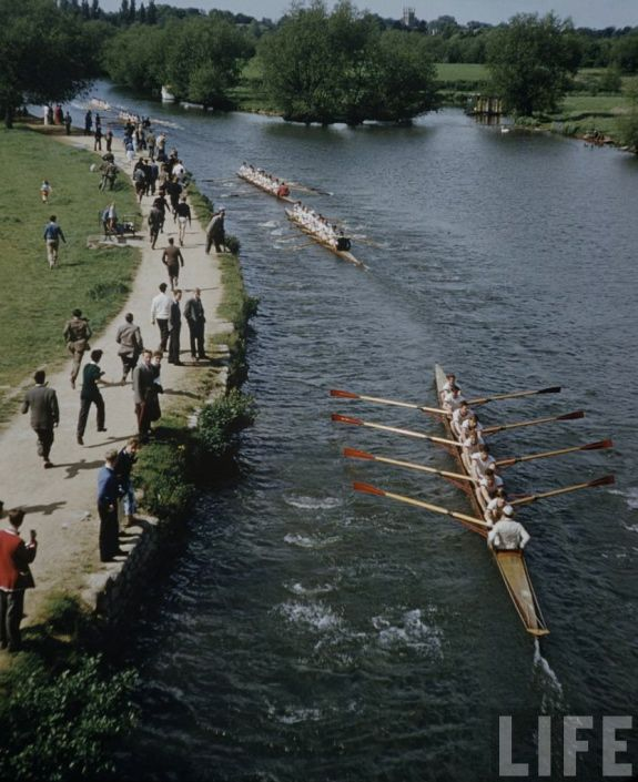 """Boat race + Oxford, from a Life magazine photo essay by Mark Kauffman from 1958 on the pleasures of life at Oxford, where """"young Britons follow ancient ways of study and enjoyment"""" in ivy-covered buildings, on bucolic lawns and rambling rivers."""