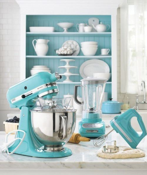 White and Teal kitchen with teal Kitchenaid appliances