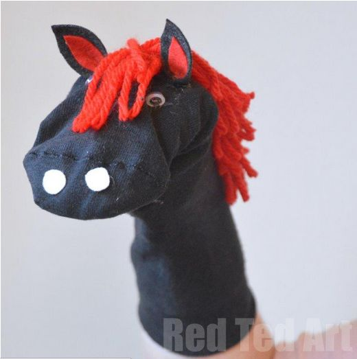 Make a No-Sew Horse Puppet from a sock.