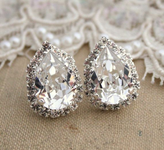 Crystal Ice big teardrop stud earring Brides jewelry, bridesmaids earrings - silver plated swarovski genuine crystals
