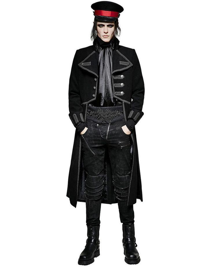 New Mens Long Coat Jacket Black Goth Steampunk Regency Aristocrat Military #Handmade #Trench