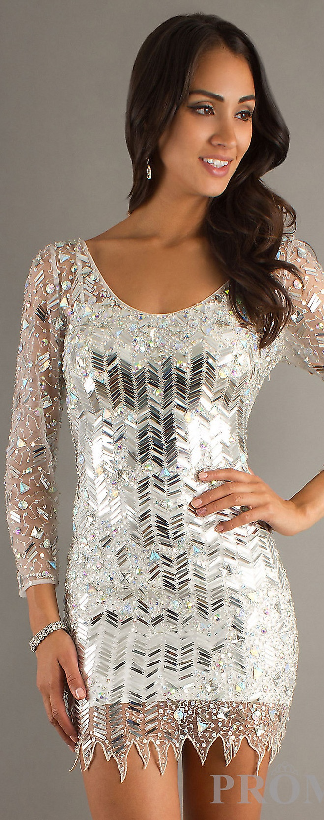 Sparkly silver dress long sleeve
