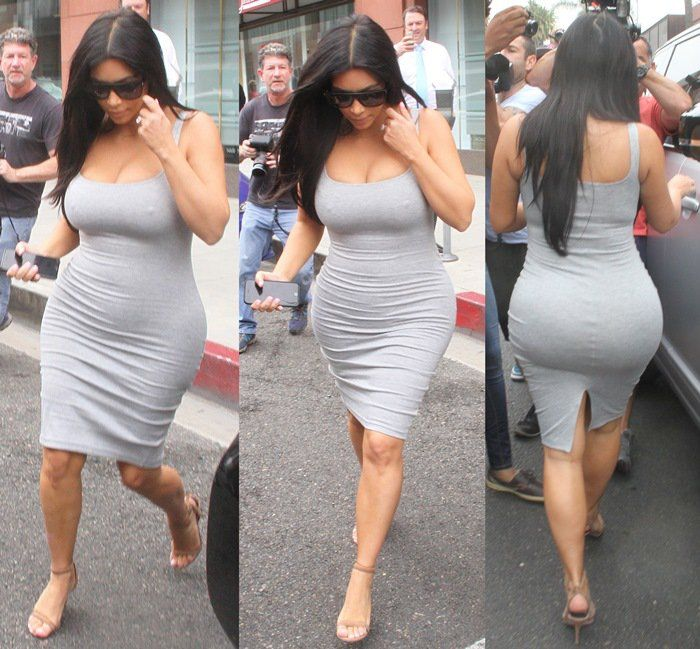 Kim Kardashian leaves Anastasia Beverly Hills Salon in a clingy grey dress