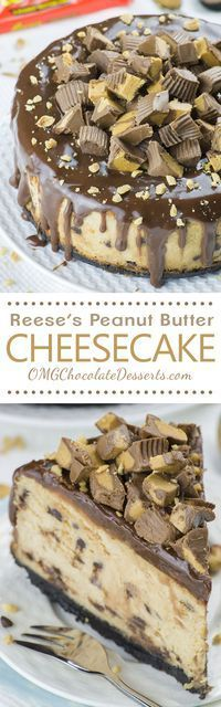 If there's nothing you love more in the world than the combination of chocolate and peanut butter you must try this Reese's Peanut Butter Cheesecake recipe!