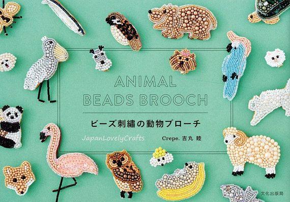 Perlenstickerei Muster Brosche, japanische Bastelbuch, Krepp, schöne Perlen handgemachte Stickerei Tier Design, einfache Stickanleitung, B1668