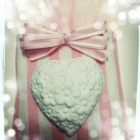 Sacchetto rosa e bianco a strisce