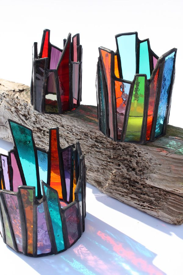 Glass Art by Maria Barber - Candle Crowns...I would like these better if they were all one color or clear, but they're neat either way.