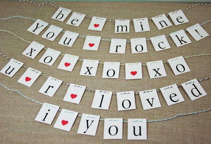 Valentine Garland FREE Printable: Holiday, Idea, Craft, Valentines Day, Free Printable, Diy, Valentine S