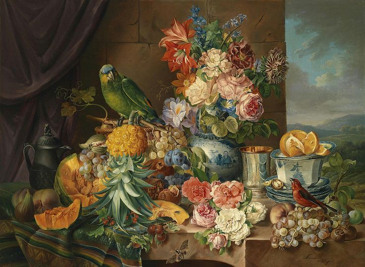 Joseph Schuster - Still Life with Fruit, Flowers and Parrot
