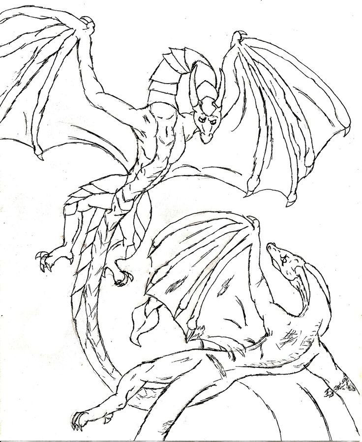 Dragon Fighting Coloring Page
