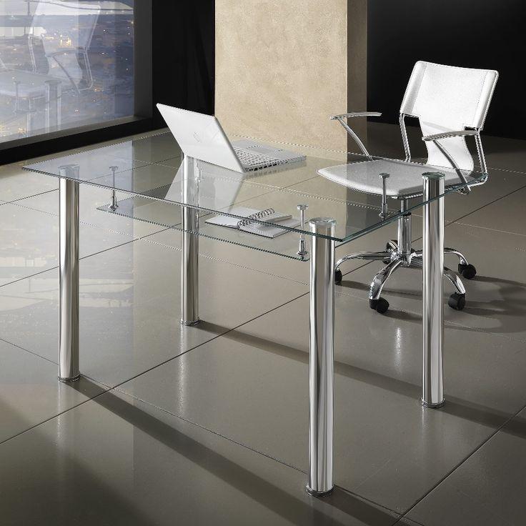 Scrivania+moderna+Roland+per+ufficio+in+vetro+120+x+70+cm
