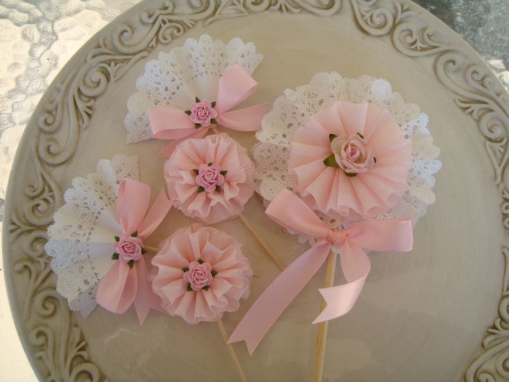 Pretty in Pink and Lace Cupcake Toppers and Wand-Shabby Chic