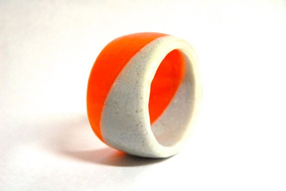 resin bangle orange and grey extra tall dual color by cocomias, $63.00