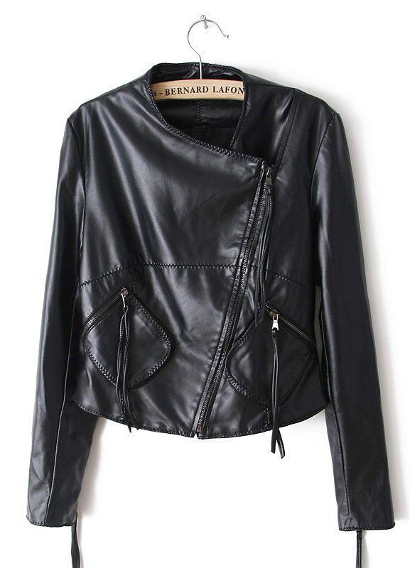 Black Long Sleeve Zipper Pockets PU Jacket - Sheinside.com