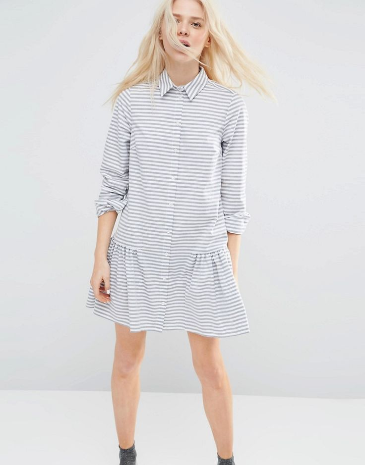 Image 1 ofASOS Shirt Dress with Frill Hem in Stripe