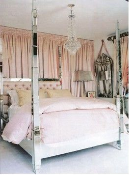 Pretty bedroom - Great #DIY: Create a solid wall by draping the whole wall - a great backdrop for your headboard.