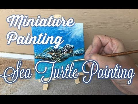 Learn How To Paint a Sea Turtle Acrylic Painting/ Mini Canvas Time Lapse - YouTube